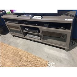 TV ENTERTAINMENT CABINET - GREY WITH GLASS DOORS