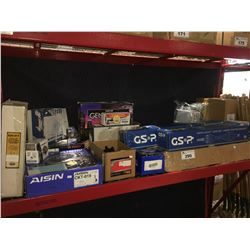 LARGE GROUP OF ASSTD VEHICLE MOTOR PARTS, CLUTCH KIT, BRAKES, DRIVE SHAFTS ECT