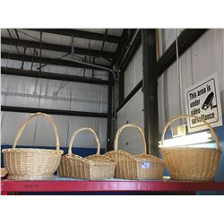 GROUP OF 4 LARGE WICKER HANDLED BASKETS