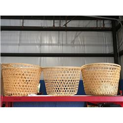 GROUP OF 5 LARGE WICKER BASKETS