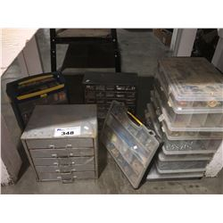 GROUP OF 12 ASSTD PARTS ORGANIZER CASES & CONTENTS