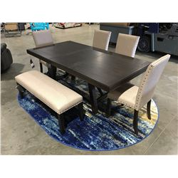 7 PCE CONTEMPORARY DINING TABLE SET - TABLE/LEAF/4 CHAIRS & BENCH SEAT