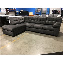 2 PCE GRANITE GREY UPHOLSTERED SECTIONAL SOFA