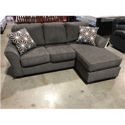 2 PCE GREY UPHOLSTERED SOFA LOUNGER WITH 2 THROW CUSHIONS