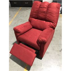 RED MICROFIBER UPHOLSTERED RECLINER