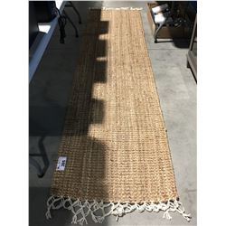 HAND WOVEN AREA RUG RUNNER APROX 2 1/2' X 10 1/2'