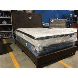 QUEEN SIZE BROWN MICROFIBER UPHOLSTERED BED (HEADBOARD, FOOTBOARD & RAILS)