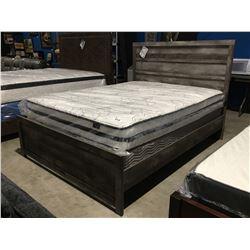 QUEEN SIZE GREY PANEL BED (HEADBOARD, FOOTBOARD & RAILS)