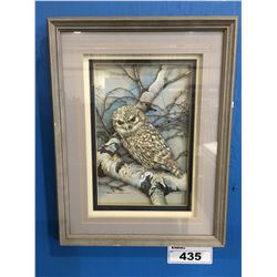 """FRAMED 3-DIMENSIONAL OWL ART PICTURE  - 14"""" X 17"""""""