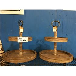 PAIR DECORATIVE WOODEN 2 TIER TRAYS