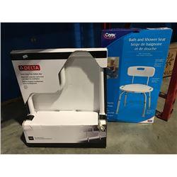 2 MEDICAL ASSIST ITEMS - BATH & SHOWER SEAT & MULTI-GRIP TUB SAFETY BAR