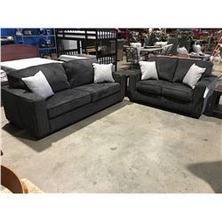 2 PCE CHARCOAL GREY UPHOLSTERED SOFA & LOVESEAT SET WITH 4 THROW CUSHIONS