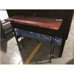 INDUSTRIAL STYLE METAL & WOOD HIGH CONSOLE TABLE
