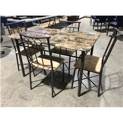 5 PCE FAUX MARBLE TOP DINETTE SET - TABLE WITH 4 CHAIRS
