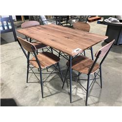 5 PCE FAUX WOOD DINETTE SET - TABLE WITH 4 CHAIRS