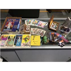 BOX OF ASSTD MYSTICAL ITEMS - TARO CARDS, CRYSTALS, JADE FOO DOG, BOOKS ECT