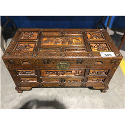 CARVED MAHOGANY WITH ORIENTAL MOTIF TRUNK