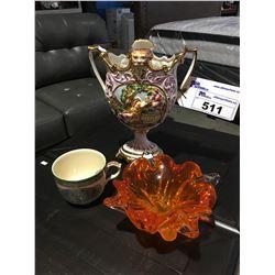 CAPODIMONTE ITALY CERAMIC VASE, ORANGE ART GLASS BOWL & EARLY ENGLISH ADAMS MUG