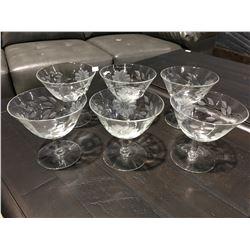 SET OF 6 VINTAGE CORNFLOWER STEMWARE GLASSES