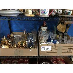 2 BOXES OF ASSTD GLASS WARE, CERAMIC WARES, DECORATIVE PIECES ECT