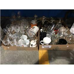 2 BOXES OF ASSTD GLASS & CERAMIC WARES