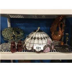 SHELF LOT OF DECORATIVE HOUSEHOLD ITEMS, LEADED GLASS HANGING LAMP, CANDLE HOLDERS, FOO DOGS ECT