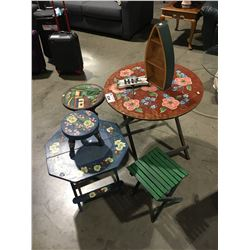 7 PCE DECORATIVE PAINTED SMALL FOLDING TABLES, STOOLS, DECORATIVE WOODEN BOAT