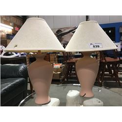 PAIR OF DUSTY ROSE TABLE LAMPS WITH MATCHING BEVELED WALL MIRROR