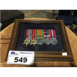 FRAMED WORLD WAR II CANADIAN WAR MEDAL COLLECTION 5 PCE SET
