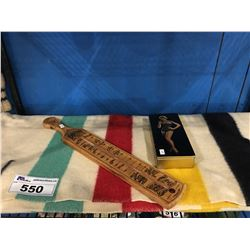 HUDSON BAY 3 1/2 POINT BLANKET, 50'S VINTAGE PINUP GIRL TIN & WOODEN ADVERTISEMENT THERMOMETER