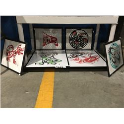 GROUP OF 6 FRAMED ORIGINAL FIRST NATION PAINTINGS BY ARTIST PHIL JOE