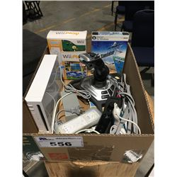 BOX OF ASSTD GAMER EQUIPMENT - NINTENDO WII CONSOLE, FLIGHT SIMULATOR FOR MICROSOFT ECT