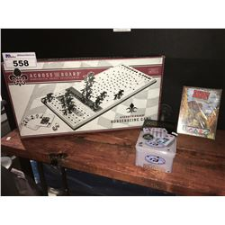 3 ASSTD GAMES, ACROSS THE BOARD HORSE RACING GAME, BANG THE DICE GAME & MEXICAN TRAIN  DOMINOS