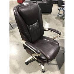 SERTA BROWN LEATHER OFFICE CHAIR