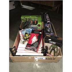 BOX OF ASSTD KIDS - TOYS LASER GAME, ASSTD ACTION FIGURES ECT