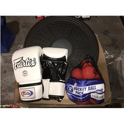 PAIR OF MIXED MARTIAL ARTS GLOVES & EXERCISE DISC & BAG OF HOCKEY BALLS