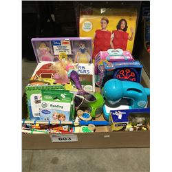 BOX OF ASSTD CHILDRENS TOYS & GAMES