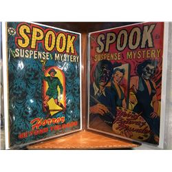 SPOOK #23 & 25 (1953) L.B. COLE COVERS. LOW GRADE - TAPE & EXTRA STAPLES ON BOTH COVERS. COMPLETE