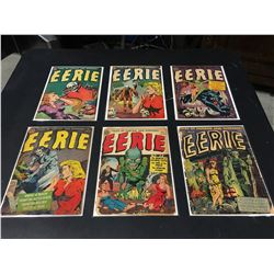 EERIE GOLDEN AGE LOT OF 6 ISSUES (1951-54) LOT INCLUDES #2, 8-10, 13 & 17. VERY LOW GRADE AVERAGE.