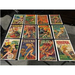 JUMBO/SHEENA GOLDEN AGE LOT OF 12 ISSUES (1950-53) LOT INCLUDES JUMBO COMICS #136, 146, 151 & 155