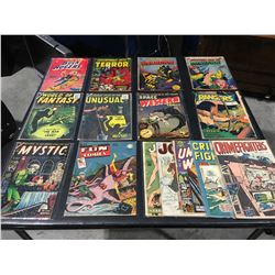 GOLDEN AGE LOT OF 15 ISSUES (1940'S/50'S) LOT INCLUDES HORROR, CRIME & SCI-FI COMICS MIX, MORE FUN