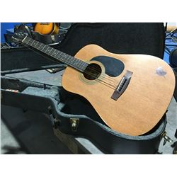 SAMICK MODEL LW-017A ACOUSTIC GUITAR WITH HARD-SHELL CARRYING CASE #96080021