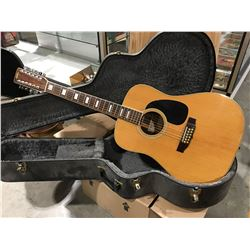 SHIRO MODEL SV-30-12 12 STING ACOUSTIC GUITAR WITH HARD-SHELL CARRYING CASE (MINOR DAMAGE ON  TOP