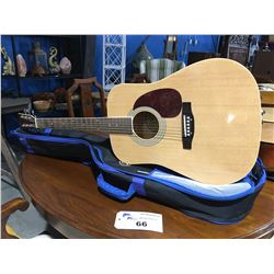 BURSWOOD MODEL JW-41F ACOUSTIC GUITAR WITH SOFT CASE