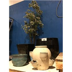 GROUP OF 6 ASSORTED CERAMIC PLANTERS & ARTIFICIAL TREE