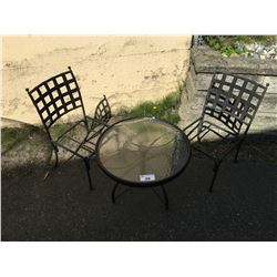SMALL ROUND BLACK & GLASS PATIO SIDE TABLE & 2 HEAVY METAL BLACK CHAIRS (CHAIRS NEED SEATS)