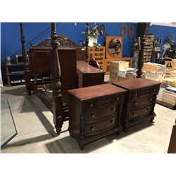 KING SIZE MAHOGANY BEDROOM SUITE - 4 POSTER BED, DRESSER WITH MIRROR, HIGHBOY DRESSER & 2 NIGHT