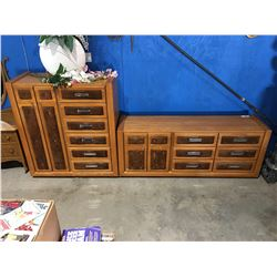 2 PCE OAK BEDROOM SET - DRESSER & HIGHBOY CHEST