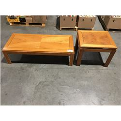 2 PCE OAK COFFEE & END TABLE SET