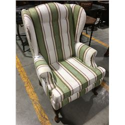 STRIPED PATTERN UPHOLSTERED WING BACK CHAIR